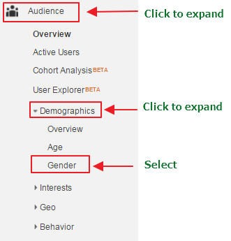 Go to audience options