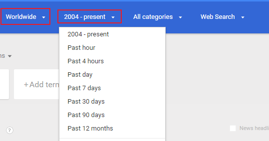 Google trend setting