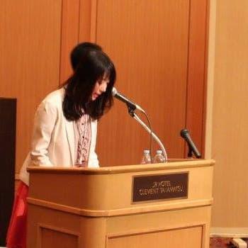 最初のセッションの登壇 松岡亜紀子さん
